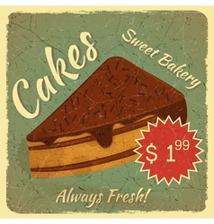 Retro Menu Card with Slice of Cake vector image