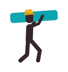 Worker contruction carrying material graphic vector