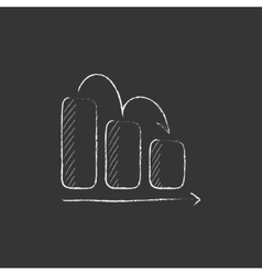 Bar chart down Drawn in chalk icon vector image