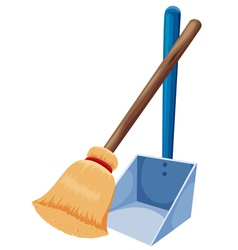 Broom and dustpan vector image vector image