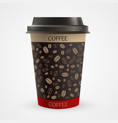 close up of blank paper coffee cup vector image