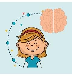 girl cartoon brain idea vector image