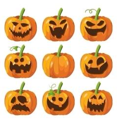 Halloween big set with pumpkins Halloween 3d vector image vector image