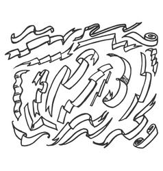 Hand drawn ribbon banners set vector image