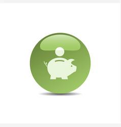 piggy bank icon on a green bubble vector image vector image