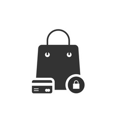 protected shopping with black bag and credit card vector image