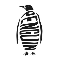 Silhouette of penguin with concept word inside vector image vector image
