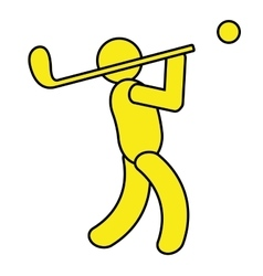 yellow avatar an playing golf graphic vector image vector image