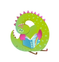 Baby dragon reading book study cute cartoon vector image vector image
