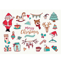 christmas new year cute doodle cartoon collection vector image