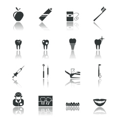 Dental icons black vector image