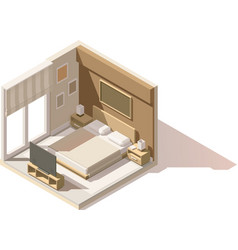 isometric low poly bedroom icon vector image