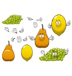 Lemon green grape and pear fruits vector image