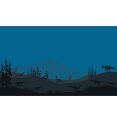 Many Dinosaur in hills vector image vector image