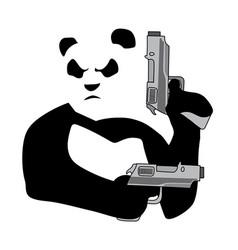 panda with guns2 vector image