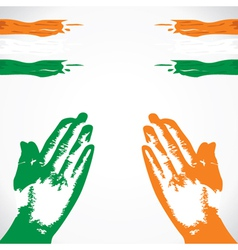 praying in hand india flag color vector image