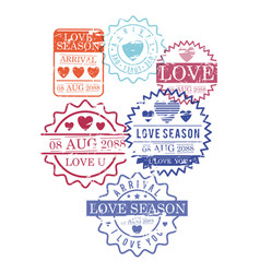 stamps set of love season in colorful silhouette vector image vector image