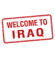 welcome to Iraq red grunge square stamp vector image vector image