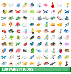 100 variety icons set isometric 3d style vector