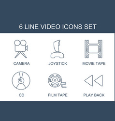 6 video icons vector image