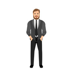 A bearded hipster in gray clothes vector