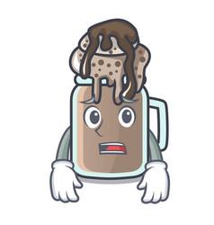 afraid milkshake mascot cartoon style vector image