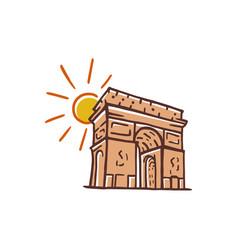 Arc de triomphe landmark icon of paris france vector