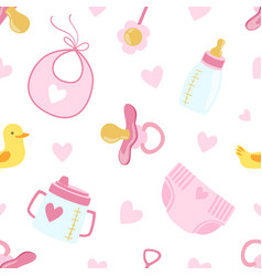 bagirl shower seamless pattern newborn baby vector image