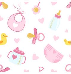 bagirl shower seamless pattern newborn baby vector image