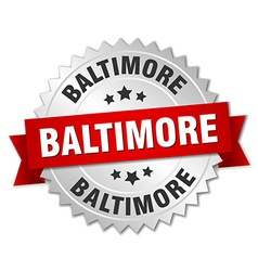 Baltimore round silver badge with red ribbon vector