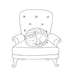 Beautiful vintage chair and a cute cat vector