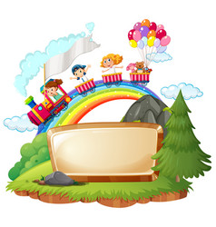 Border template with happy kids on train vector