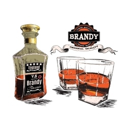 Brandy in two glasses and bottle vector