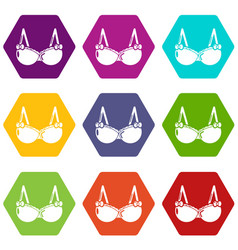 brassiere wear icons set 9 vector image