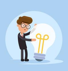 Businessman hugs a big lightbulb big good idea vector