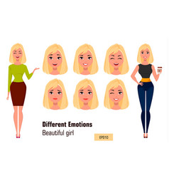 businesswoman making different face expressions vector image