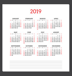 Calendar for 2019 year week starts on sunday vector