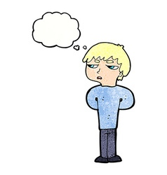 Cartoon antisocial boy with thought bubble vector