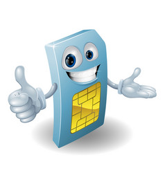 cartoon mobile phone sim card man vector image
