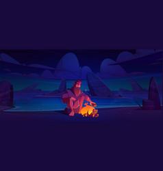 Castaway man on uninhabited island with bonfire vector