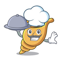 Chef with food exotic shell mascot cartoon vector