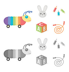 Children toy cartoonmonochrome icons in set vector