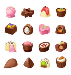 Chocolate candies sweets and dessert food vector