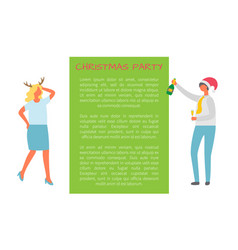 christmas party dancing man woman in horns fest vector image
