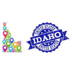 Collage map of idaho state with map markers and vector