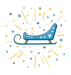 colored santa s sleigh icon in thin line style vector image