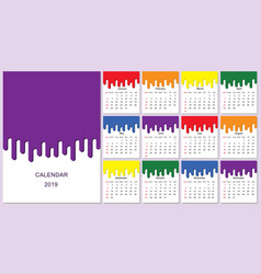 Colorful year 2019 calendar vector