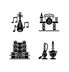 Culture of singapore black glyph icons set vector