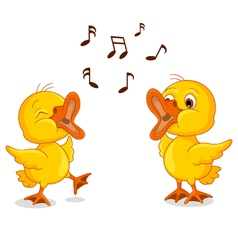 Cute two little chick cartoon singing vector