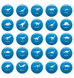 dinosaur types signed name icons set blue vector image
